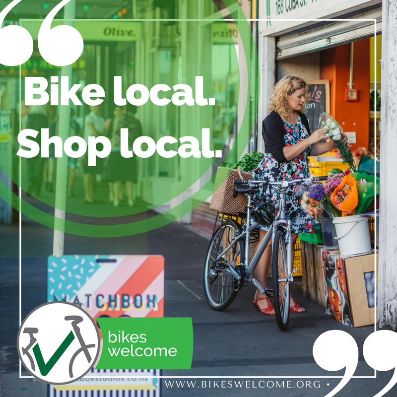 Bikes Welcome: Bike Local. Shop Local