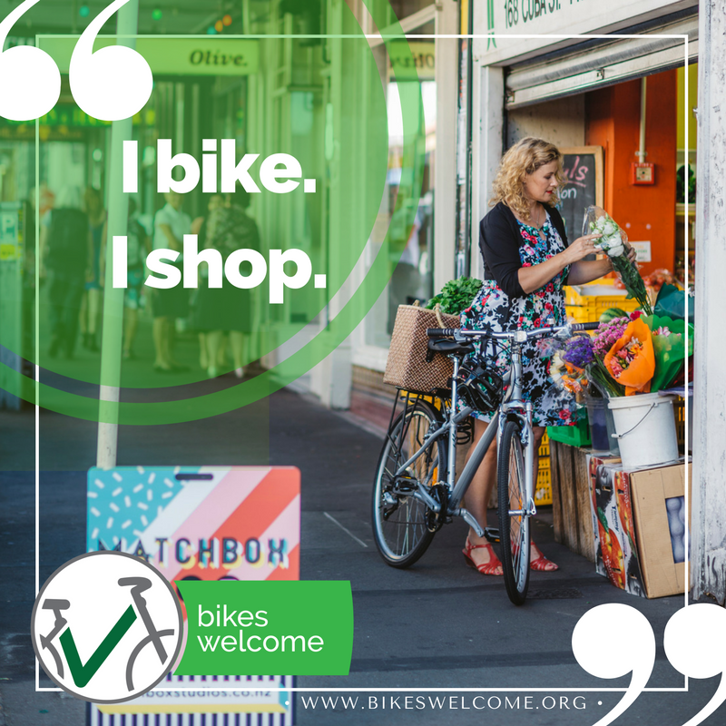 I Bike, I Shop.  Bikes Welcome