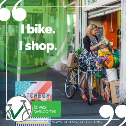 I Bike, I Shop.  Bikes Welcome